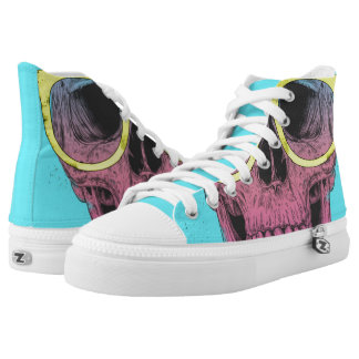 Pop art skull with glasses High-Top sneakers