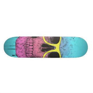 Pop art skull with glasses skateboard deck