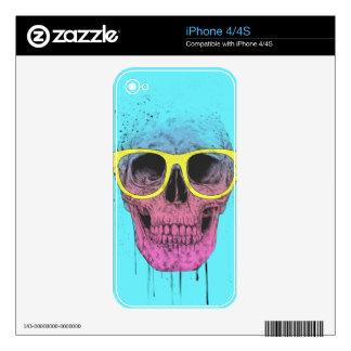 Pop art skull with glasses skin for iPhone 4S