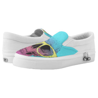 Pop art skull with glasses Slip-On sneakers
