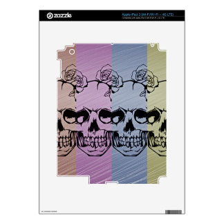 Pop Art Skull with Roses Decal For iPad 3