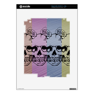 Pop Art Skull with Roses Skin For The iPad 2