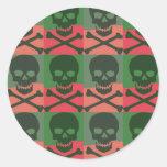 Pop Art Skulls 2 Round Stickers