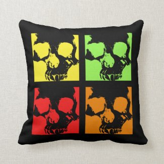 Pop art skulls punk retro throw pillow