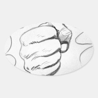 Pop Art Smash Punch Pencil Sketch Oval Sticker
