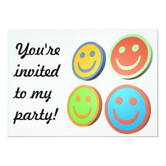 Pop art smiling faces party invitation