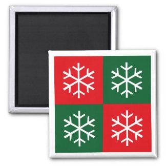 Pop Art Snowflakes 2 Inch Square Magnet