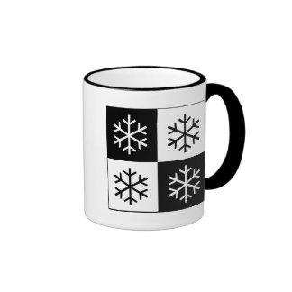 Pop Art Snowflakes Ringer Coffee Mug