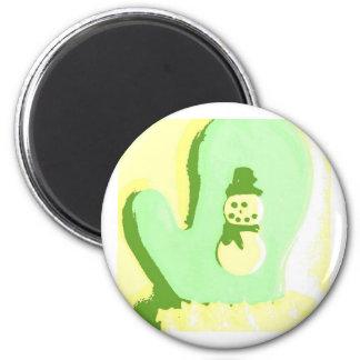 Pop Art Snowman Mitten Magnet