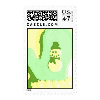 Pop Art Snowman Mitten Postage