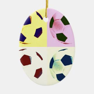 Pop Art Soccer Balls Ceramic Ornament