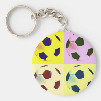 Pop Art Soccer Balls Keychain