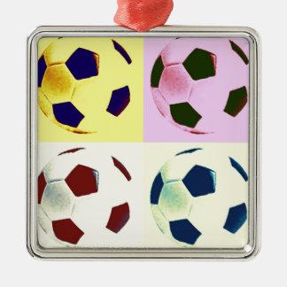 Pop Art Soccer Balls Metal Ornament
