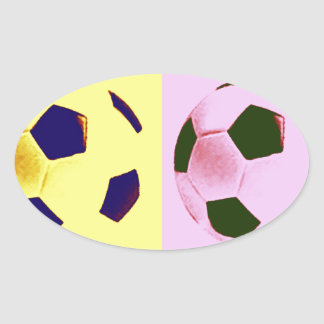 Pop Art Soccer Balls Oval Sticker