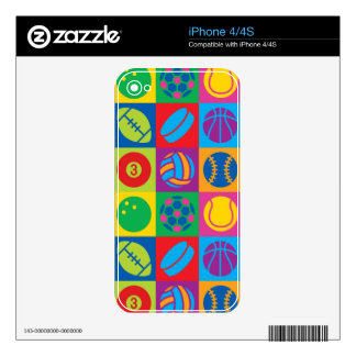 Pop Art Sports Balls Decal For iPhone 4