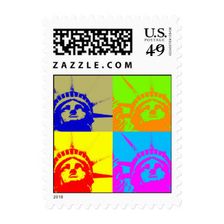 Pop Art Statue of Liberty 4 Colors Postage Stamp