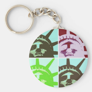 Pop Art Statue of Liberty Basic Round Button Keychain