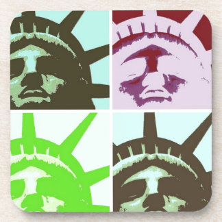 Pop Art Statue of Liberty Close Up Drink Coaster