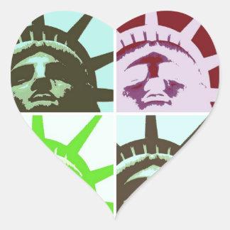 Pop Art Statue of Liberty Close Up Heart Sticker
