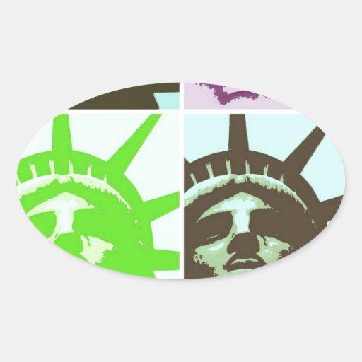 Pop Art Statue of Liberty Close Up Oval Sticker