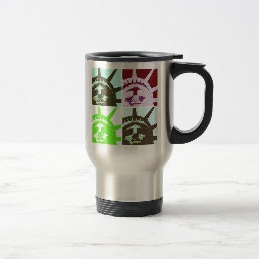 Pop Art Statue of Liberty Close Up Travel Mug