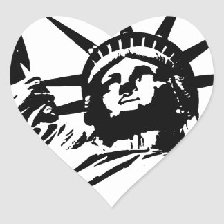 Pop Art Statue of Liberty Heart Sticker