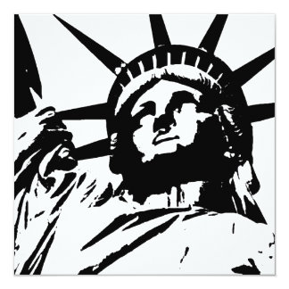 Pop Art Statue of Liberty Silhouette Invites