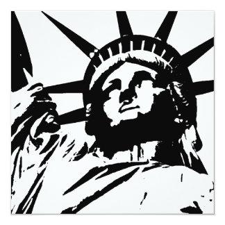 """Pop Art Statue of Liberty Silhouette Invites 5.25"""" Square Invitation Card"""
