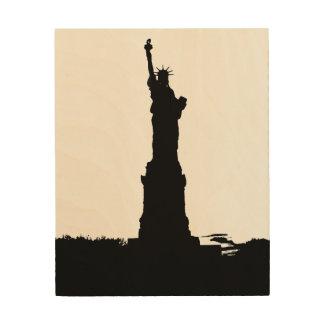 Pop Art Statue of Liberty Silhouette Wood Canvas Wood Wall Art