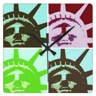 Pop Art Statue of Liberty Square Wallclock