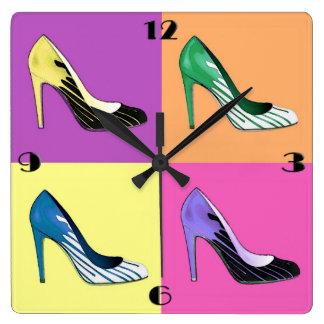 Pop Art Stiletto Pumps / Shoes / High Heels Square Wall Clock