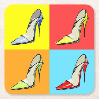 Pop Art Stilettos Disposable Coaster, Fashion Them Square Paper Coaster