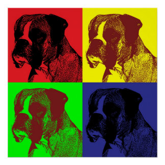 Pop Art Style Boxer Dog Head Poster