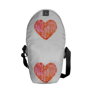 Pop Art Style Grunge Graphic Heart Messenger Bag