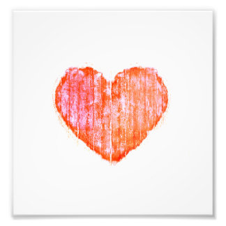 Pop Art Style Grunge Graphic Heart Photo Print