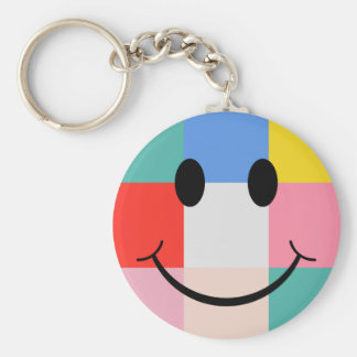 Pop Art Style Smiley Face Keychain