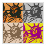 Pop Art Style Statue of Liberty 4 Colors Poster