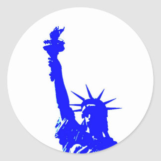 Pop Art Style Statue of Liberty Classic Round Sticker