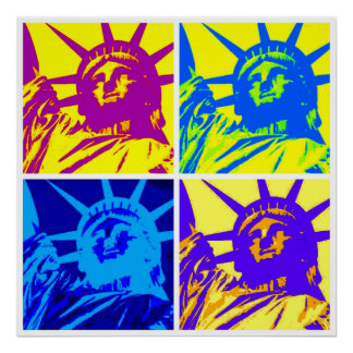 Pop Art Style Statue of Liberty Four Color Poster