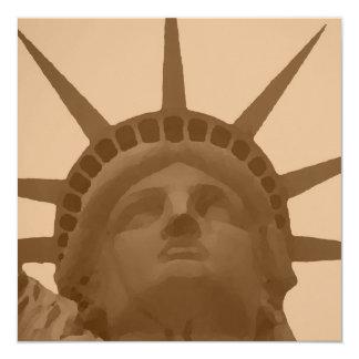 """Pop Art Style Statue of Liberty Invitation 5.25"""" Square Invitation Card"""