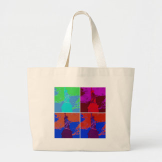 Pop Art Style Statue of Liberty Large Tote Bag