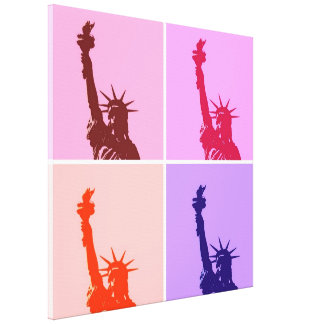Pop Art Style Statue of Liberty Wrapped Canvas