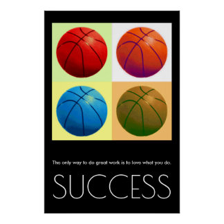 Pop Art Success Motivational Basketball Stylish Poster