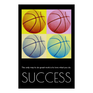 Pop Art Success Motivational Basketball Trendy Poster