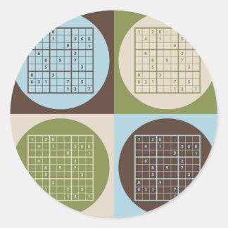 Pop Art Sudoku Classic Round Sticker