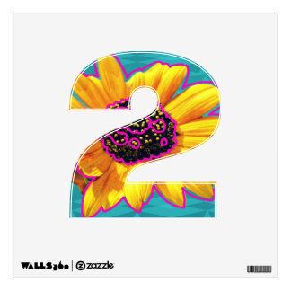 Pop Art Sunflower in Pink Yellow and Blue - Wall Sticker