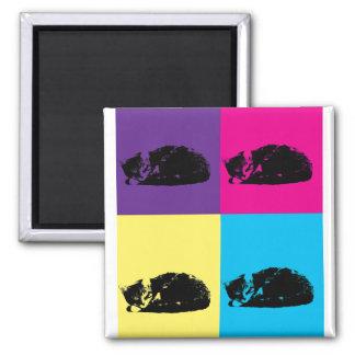 Pop Art Tabby Cat 002 2 Inch Square Magnet