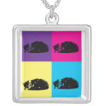 Pop Art Tabby Cat 002 Necklace