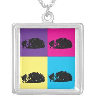 Pop Art Tabby Cat 002 Square Pendant Necklace
