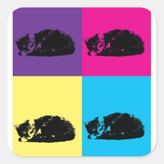 Pop Art Tabby Cat 002 Square Sticker
